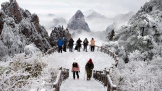 黄山雪景色