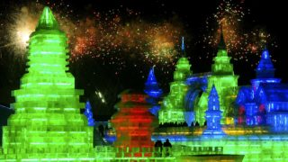Fireworks light the skies during opening ceremonies on January 12, 2012.  (Sheng Li/Reuters)
